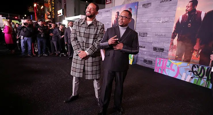 """(L-R) Will Smith and Martin Lawrence attend the Los Angeles Premiere of """"Bad Boys for Life"""" on Jan. 14, 2020. (Credit: Eric Charbonneau)"""