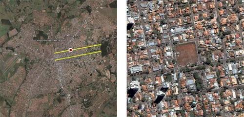 Terreno à espera de valorização em Campo Grande MS. À esquerda é possível ver sua localização central  (em amarelo estão destacadas as duas principais avenidas da cidade).