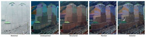 Progression of World Financial Center by the Hudson River