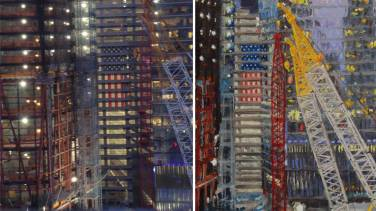 U.S. Flag hanging from the lobby of BNY Mellon lobby (left actual image, at right the painting) * There are 7 flags in the piece