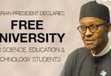 Nigeria Declares Free University for Science, Education & Technology Students