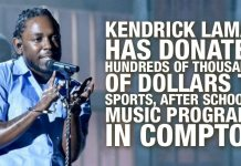 Kendrick Lamar Has Donated Hundreds of Thousands Of Dollars To Sports, After School & Music programs In Compton