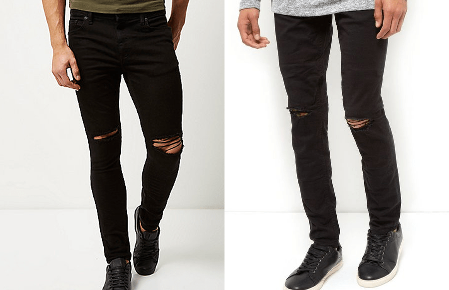 Black ripped skinny jeans (Right: River Island £30, Left: New Look £24.99)