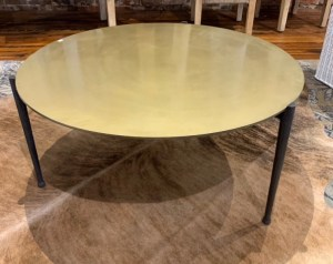 Gold painted metal coffee table