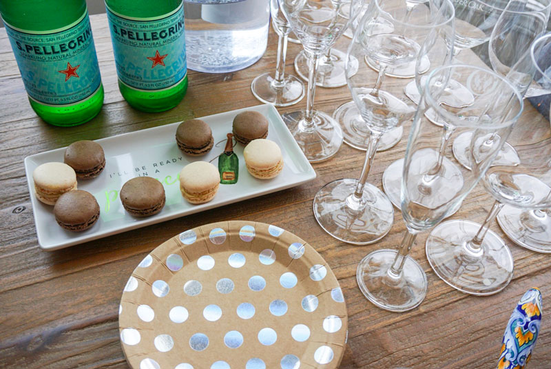 macaroons for party and olive bowl