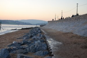 Photo of coastline with riprap and seawall