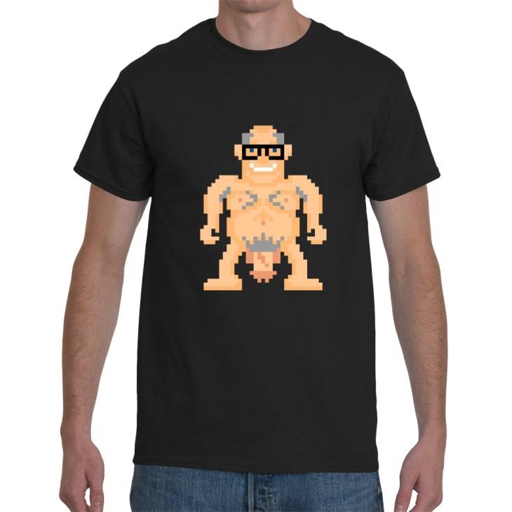 Naked Bull man pixel Tee