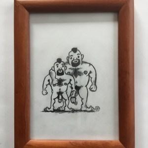 Bear Mohawk naked couple sketch