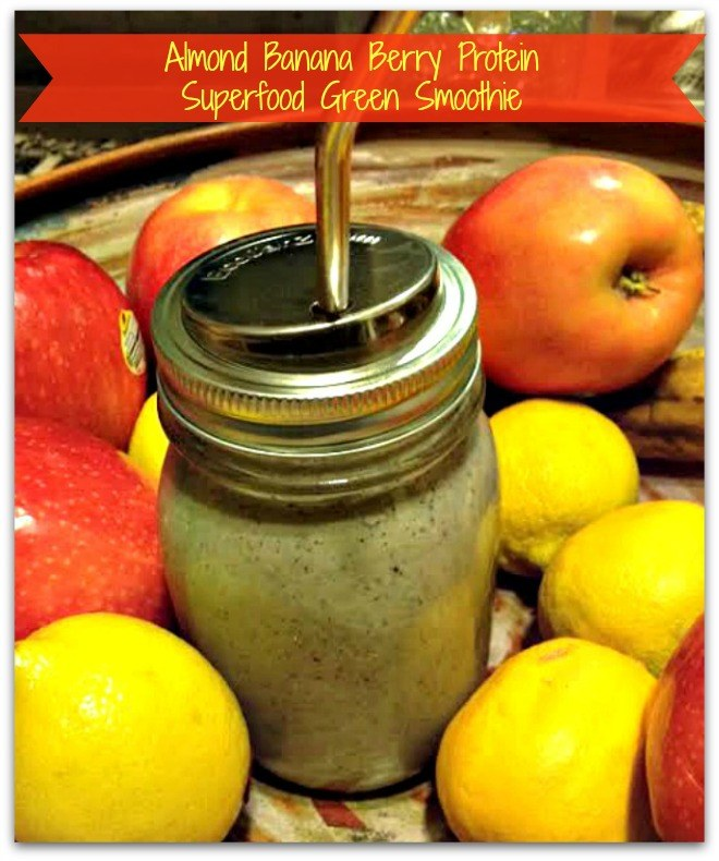Blend! Grab! Go! Almond Banana Berry Protein Superfood Green Smoothie