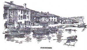 "Sea inlet of Betanzos. Illustration of the newspaper ""La Voz de Galicia"""