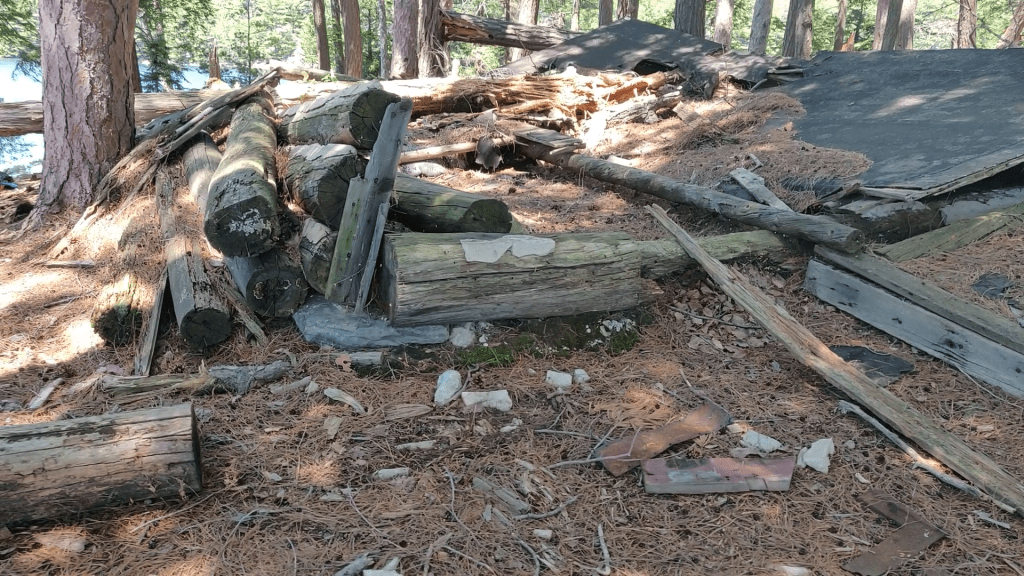 Trapper cabin remains on OSA Lake in Killarney Provincial Park