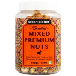 Urban Platter Everyday Unsalted Mixed Premium Nuts, 500g / 18oz [Mix of Almonds, Cashew Nuts, Pistachios, and Raisins]