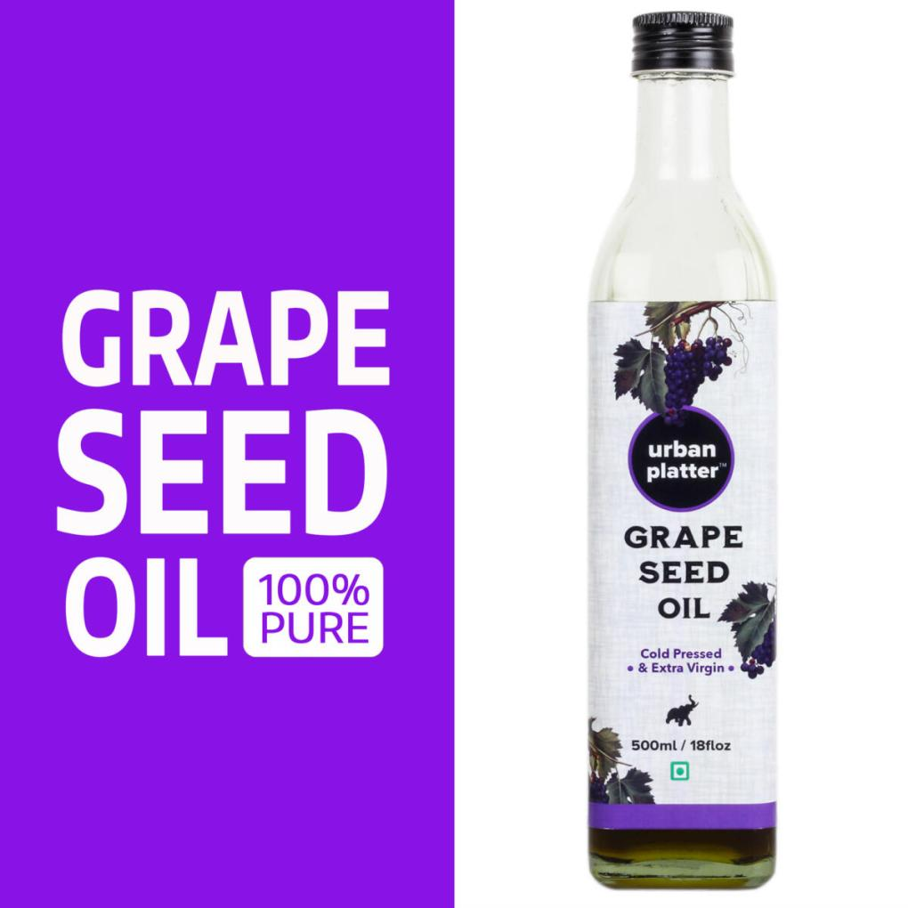 Urban Platter Pure Grape Seed Oil, 500ml / 17fl. oz [Cold Pressed, Extra Virgin & Rich In Anti-oxidant]
