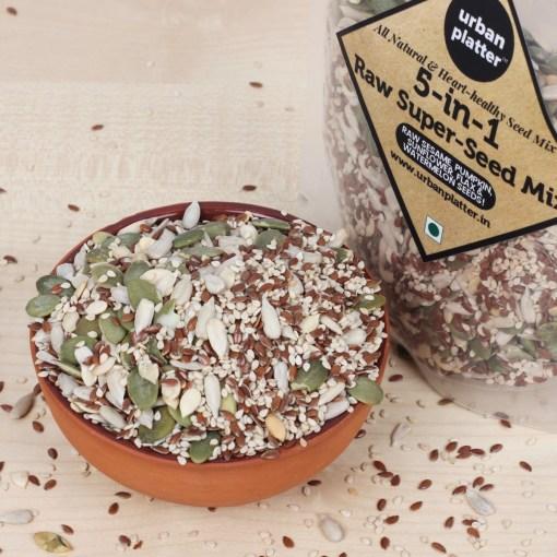 Urban Platter 5-in-1 Raw Seeds Mix [Raw Sunflower Seeds, Pumpkin Seeds, Flax Seeds, Sesame Seeds, Watermelon Seeds], 400g
