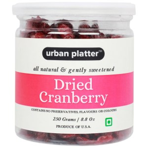 Urban Platter Dried Red Cranberry Sliced, 250g Jar [All Natural & Gently Sweetened]
