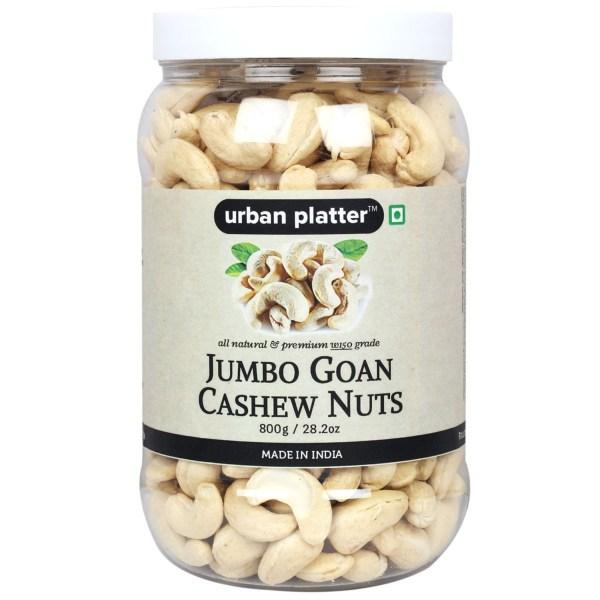 Urban Platter Jumbo Goan Cashew Nuts, 800g [All Natural & Premium W150 Grade]