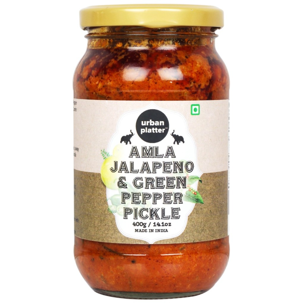 Urban Platter Amla (Avla), Jalapeno and Green Pepper Pickle, 400g