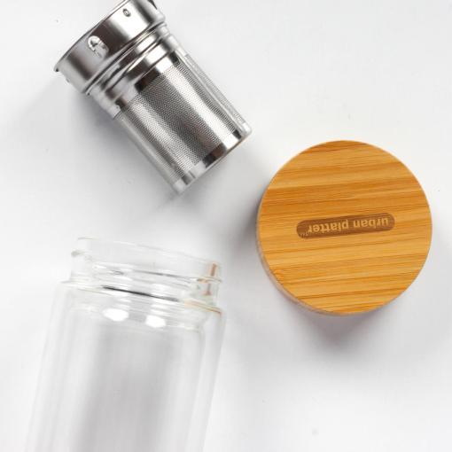 Urban Platter Double Walled Glass Tea Infuser Bottle, 450ml [Multipurpose, Bamboo Lid, Borosilicate Glass]