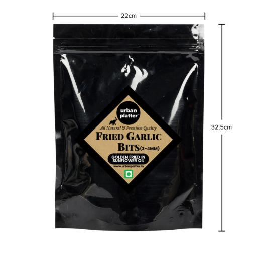 Urban Platter Fried Garlic Bits, 400g / 14.1oz [3-4mm, Crunchy, Golden Fried in Sunflower Oil]
