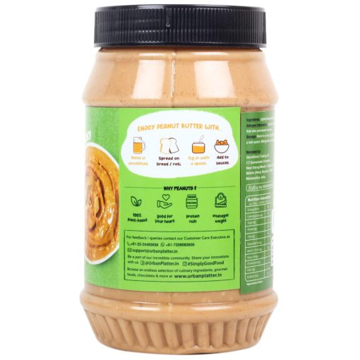 Urban Platter Natural Crunchy Peanut Butter, 1kg / 35.2oz [Unsweetened, No Added Oil, Vegan]