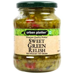 Urban Platter Pickled Sweet Green Relish, 375g / 13.2oz [Delicious, Sweet & Savoury]