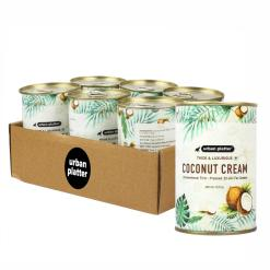 Urban Platter Coconut Cream, 400ml / 13.5fl.oz [Pack of 6, Unsweetened, First-Pressed, 22-24% Fat Content]
