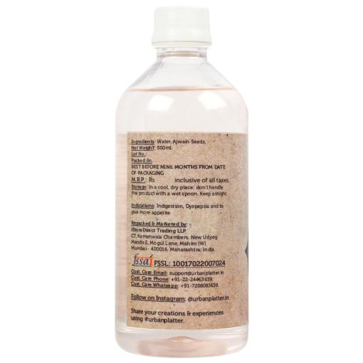 Urban Platter Ajwain Water, 500ml / 17fl.oz [All Natural, Highly Digestive Potion, Caraway Seed Infused H20 OMA-Water]