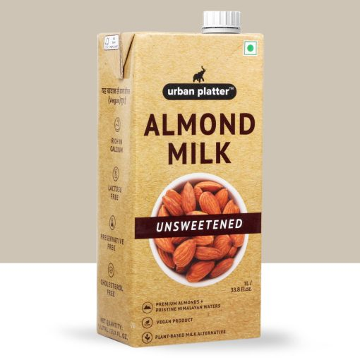 Urban Platter Unsweetened Almond Milk, 1 Litre [Barista-Grade, Lactose-Free, Plant-Based Milk Alternative]