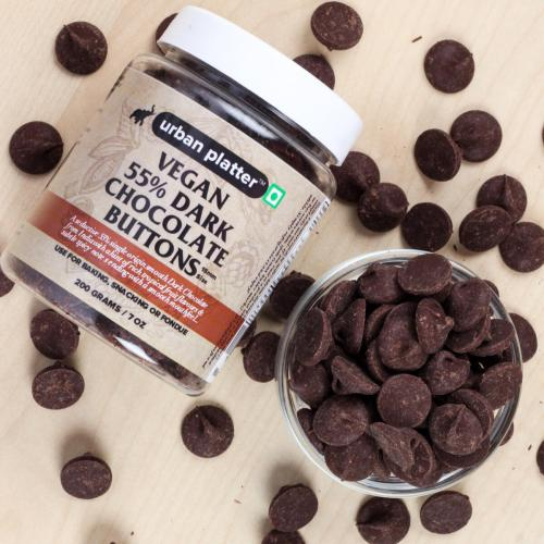 Urban Platter Vegan Dark Chocolate Buttons, 200g / 7oz [All Natural, Dairy-free & 55% Cocoa]
