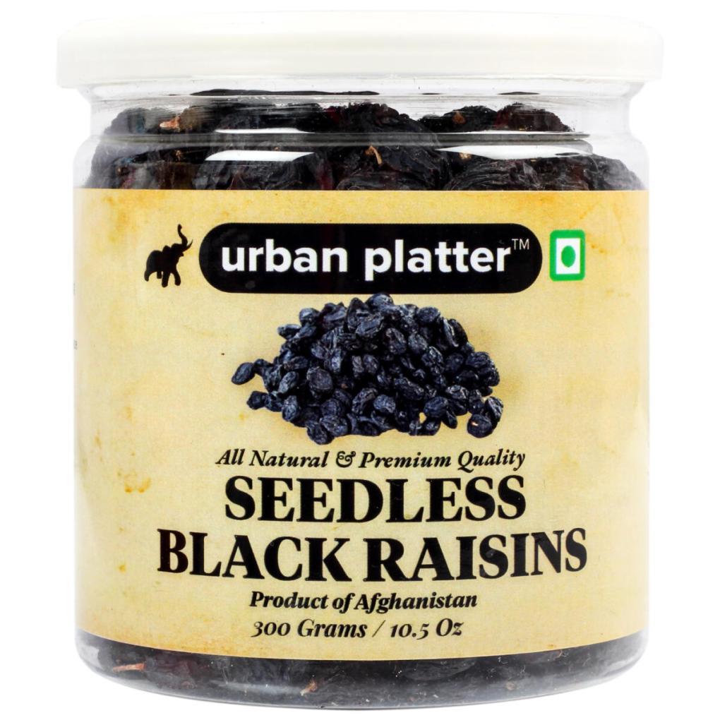 Urban Platter Seedless Black Afghan Raisins, 300g