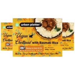 Urban Platter Vegan Chettinad with Basmati Rice, 300g / 10.5oz [Pack of 3, Vegan Meals, Ready to Heat & Eat, Microwave Safe]