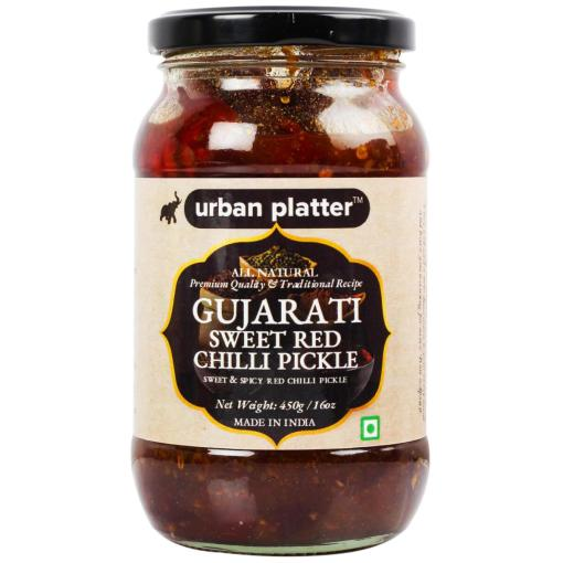 Urban Platter Gujarati Sweet Red Chilly Pickle, 450g / 16oz [Sweet & Spicy, Premium Quality, Traditional Recipe]