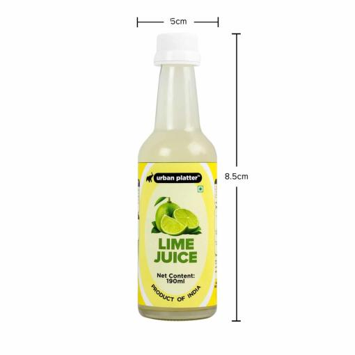 Urban Platter Lime Juice Concentrate in Glass Bottle, 190ml [Equivalent of 25 Green Limes!]