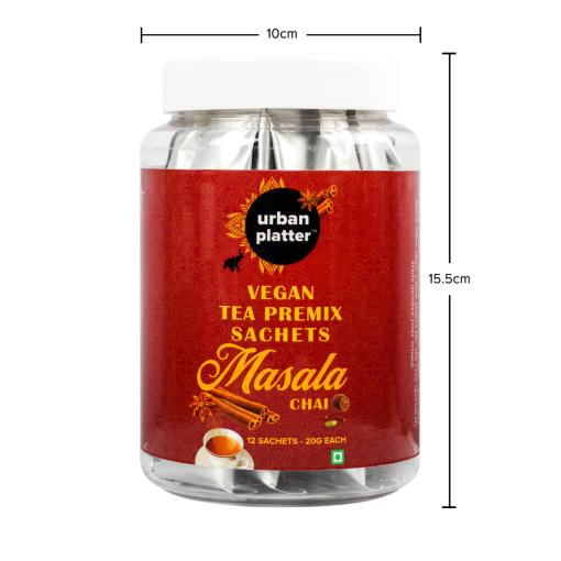 Urban Platter Vegan Tea Premix Sachets, Masala Chai, 240g / 8.4oz [Just Add Water, 12 Sachets, Dairy-Free Instant Tea]