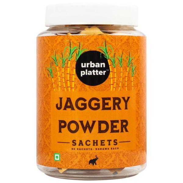 Urban Platter Jaggery Powder Sachets, 250g / 8.8oz [50 Sachets, 5 grams Each]