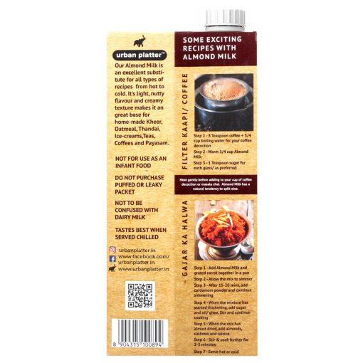 Urban Platter Unsweetened Almond Milk, 1 Litre [Pack Of 6, Barista-Grade, Lactose-Free, Plant-Based Milk Alternative]