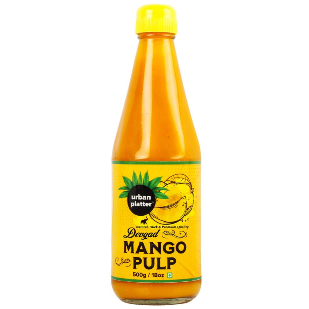 Urban Platter Devgad Mango Pulp, 500g / 18oz [Fruity, Thick & Delicious]