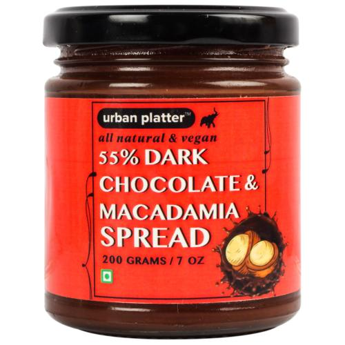 Urban Platter All Natural, Vegan Macadamia Dark Chocolate Spread, 200g [Handcrafted In Small Batches]