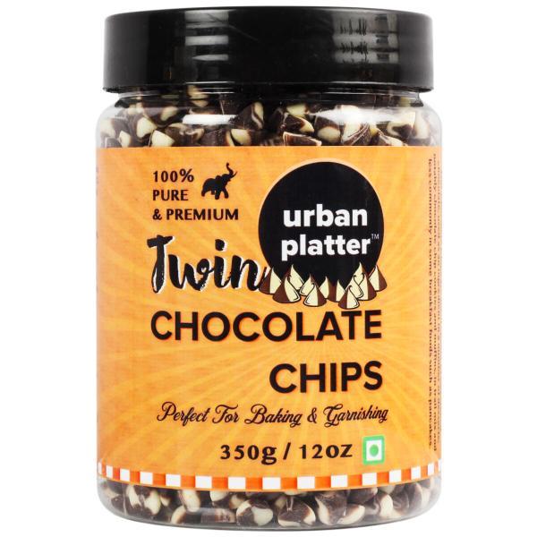 Urban Platter Dark & White Twin Chocolate Chips, 350g / 12oz [Perfect for Baking & Garnishing]