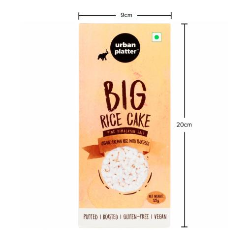 Urban Platter Organic Puffed Flax Seeds with Brown Big Rice Cakes, 125g