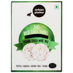 Urban Platter Organic Puffed Spiced White Big Rice Cake Thins, 125g