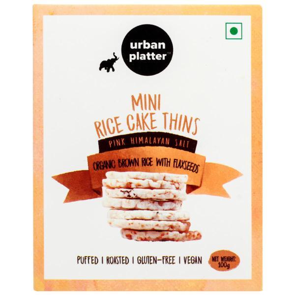 Urban Platter Organic Puffed Flax Seeds with Brown Mini Rice Cake Thins, 100g
