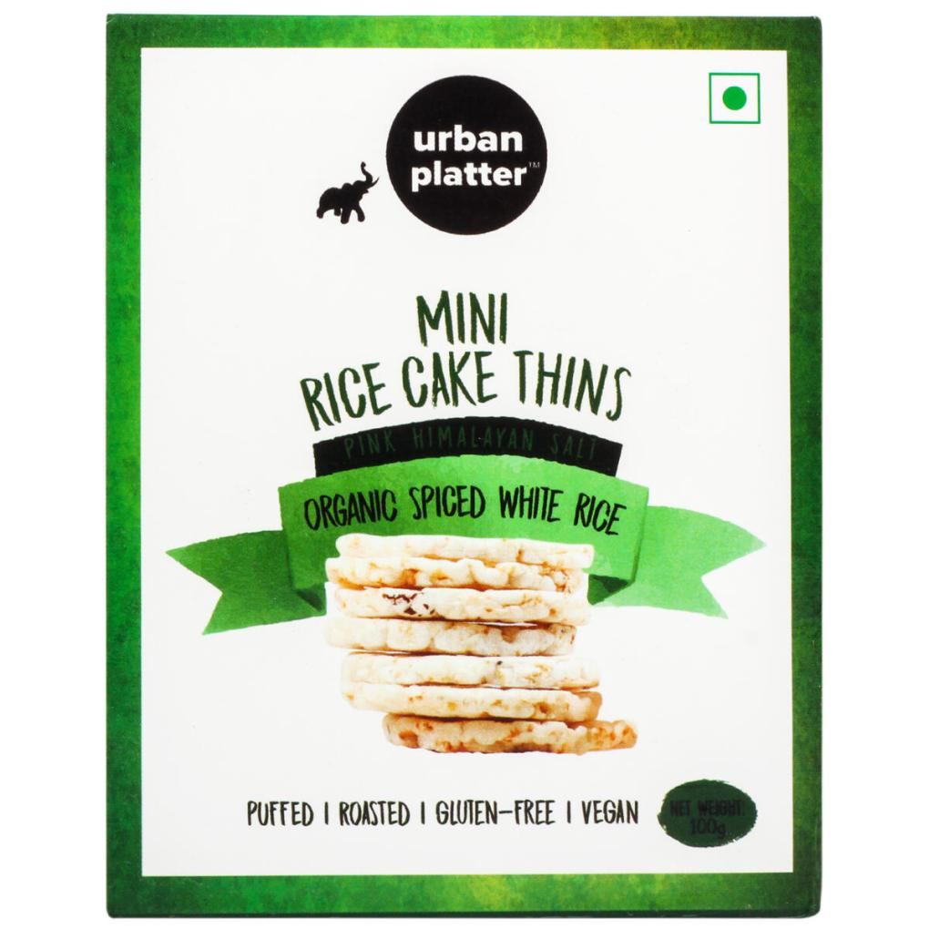 Urban Platter Organic Puffed Spiced White Mini Rice Cake Thins, 100g