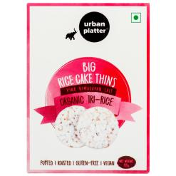 Urban Platter Organic Puffed Big Tri-Rice Cake Thins, 125g