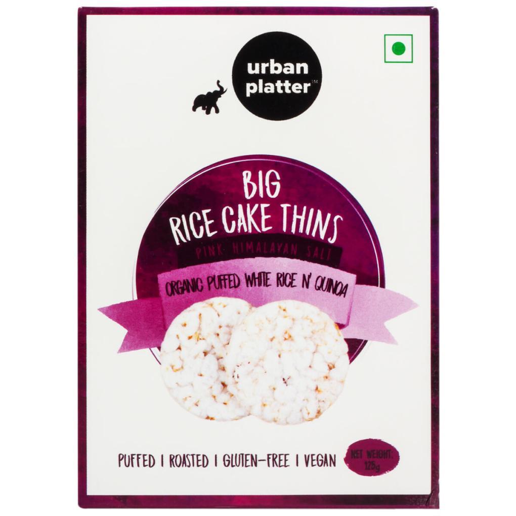 Urban Platter Organic Puffed Quinoa and White Big Rice Cake Thins, 125g