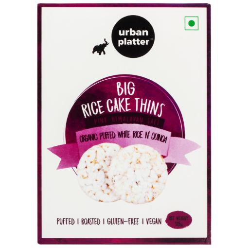 Urban Platter Organic Puffed Quinoa and White Big Rice Cake Thins, 125g