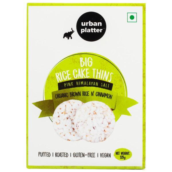 Urban Platter Organic Puffed Cinnamon and Brown Big Rice Cake Thins, 125g