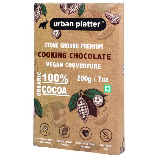 Urban Platter Stone Ground Premium Cooking Chocolate 100% Vegan Couverture, 200g