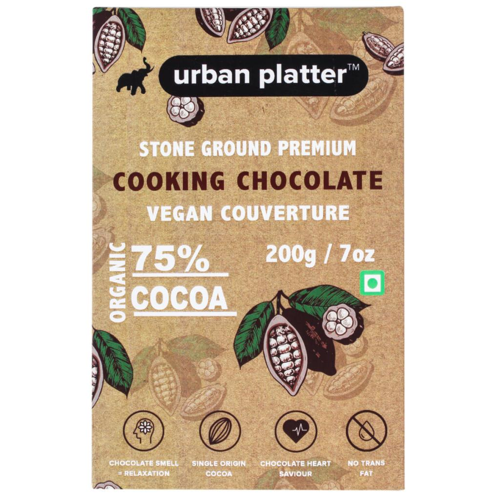 Urban Platter Stone Ground Premium Cooking Chocolate Vegan Couverture, 200g / 7oz [75% Cocoa, Single Origin Bean, No Trans Fat]