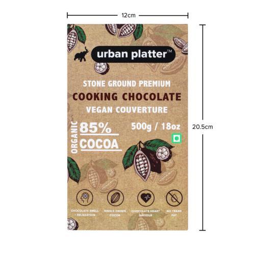 Urban Platter Stone Ground Premium Cooking Chocolate Vegan Couverture, 500g / 17.6oz [85% Cocoa, Single Origin Bean, No Trans Fat]